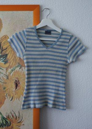 champion u.s.a shirt S blau weiß beige gestreift v-neck