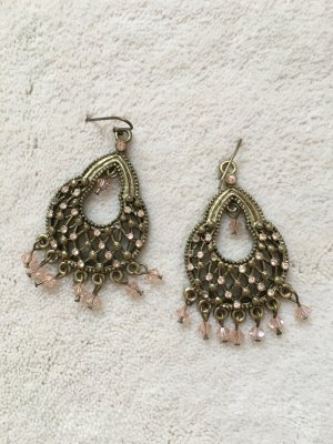 Chandelier-Ohrringe / Ohrhänger gold und rosa, NEU