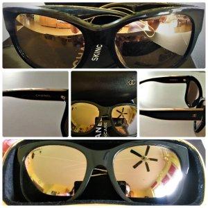 """Chanel aus der Sonderedition """"Black & Gold"""".Sonnenbrille Schwarz/Gold Verspiegelt"""