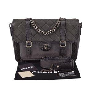 Chanel Sac porté épaule gris anthracite-argenté