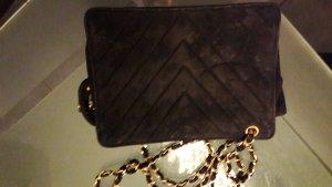 chanel bag tasche chevron schwarz fold wildleder