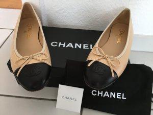 Chanel Ballerina beige und schwarz Größe 38