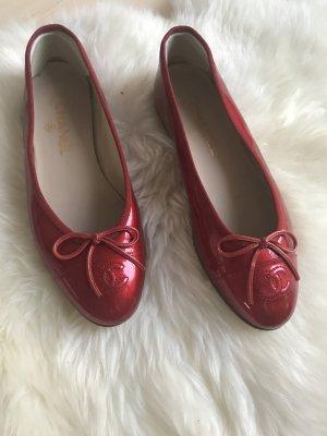 Chanel Bailarinas rojo Cuero