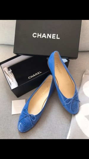 Chanel, Ballerinas,38,5,lack,blau