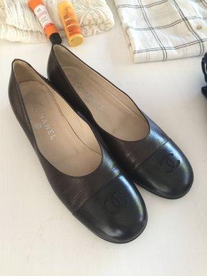 Chanel Ballerinas Leder braun schwarz 39,5 wie 40,5