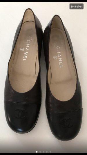 Chanel Ballerinas Logo kappe schwarz braun 40,5-41