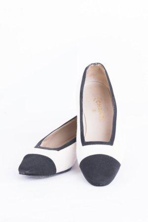 CHANEL - Ballerinas mit Leinenbesatz Schwarz-Weiß