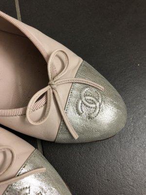 Chanel Ballerinas Schuhe Gr. 42 passend für Gr. 41 Rosa, Silber