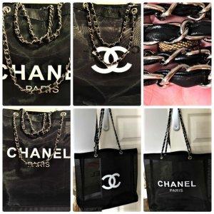 Chanel Beach Bag,Tasche/Shopper mit Silber-Kette Griff groß 35/45cm