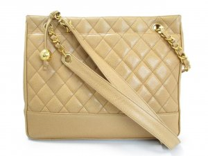 CHANEL Beige Lamb Skin Chain Shoulder Shopper Tote Bag