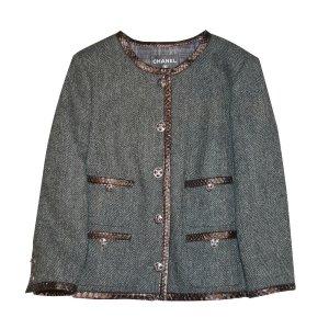 Chanel Blazer court gris-brun laine