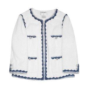 Chanel Blazer corto bianco-blu Cotone