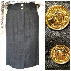 Chanel Bleistiftrock Coco Chanel Paris Knöpfe 100% Wolle zeitlos elegant grau Gr 34 von Chanel