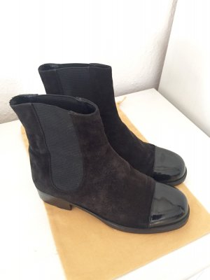 chanel boots chealseaboots stiefeletten stiefel lackschwarz wildleder boots. Black Bedroom Furniture Sets. Home Design Ideas