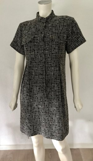 CHANEL Boucle Kleid Schwarz Weiß Wolle Seide 36 38 CC-Logo Dress Black White S-M