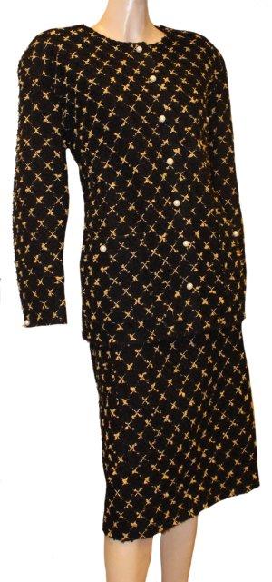 CHANEL Boucle Kostüm schwarz creme Gr. 40