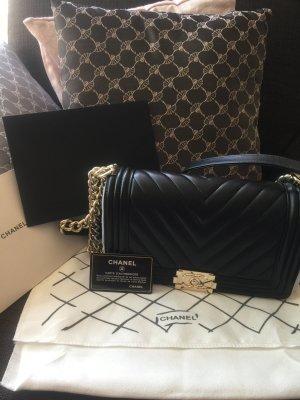 Chanel Boy Bag Chevron Schwarz