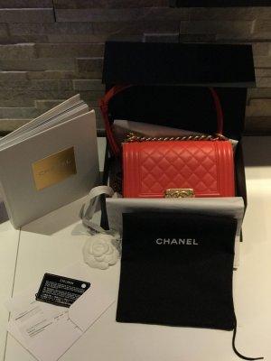 Chanel Boy Small wie neu orange rot