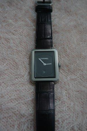 Chanel Horloge met lederen riempje zilver-braambesrood