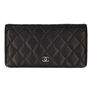 Chanel Brieftasche aus Lammleder in den Farben Schwarz und Silber Geldbörse, Portemonnaie