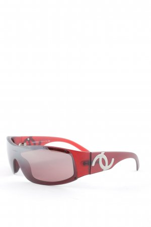 Chanel Gafas rojo oscuro-color plata Estilo años 90