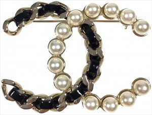 Chanel Broche crema-color oro metal