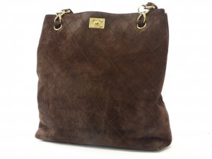 CHANEL Brown Deerskin Wild Stitch Chain Shoulder Tote Bag