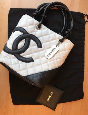 Chanel Carry Bag black-white leather