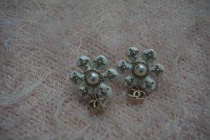 Chanel Pendientes colgante blanco-color oro