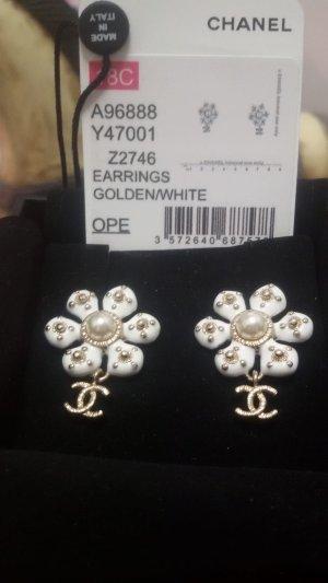 Chanel Boucles d'oreille en or blanc-doré