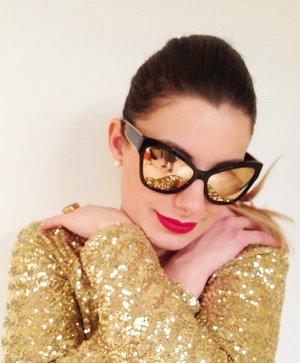 Chanel Occhiale da sole nero-oro Tessuto misto