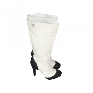 Chanel Heel Boots white-black leather