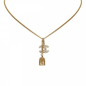 Chanel CC Bell Rhinestone Studded Charm Necklace