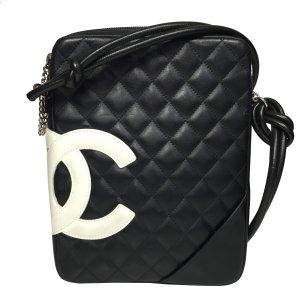 Chanel CC Cambon Linie Tasche Handtasche Umhängetasche Leder Schwarz Weiß