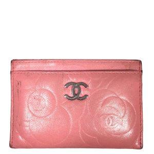 Chanel CC Camelia Leder Kreditkartenetui in den Farben Silber und Rosa