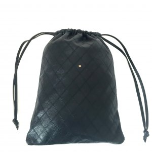 Chanel CC CHANEL Beutel Tasche Lammleder Navy Dunkelblau Clutch