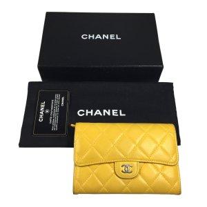 Chanel CC Geldbörse Geldtasche Portemonnaie Lammleder Leder Gelb