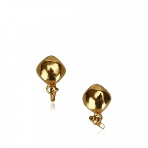 Chanel CC Gold Toned Clip On Drop Earrings