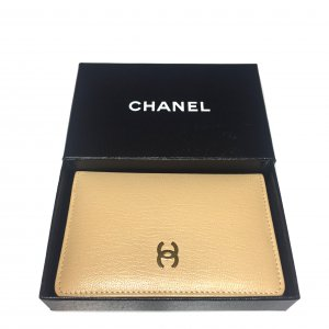 Chanel Card Case oatmeal-gold-colored leather