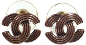 Chanel Clou d'oreille bronze métal