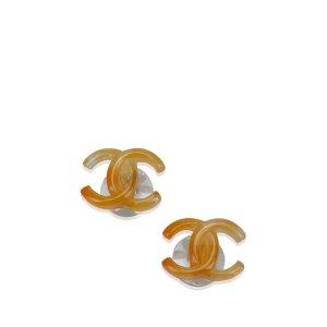Chanel CC Plastic Push Back Earrings