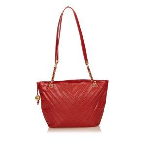 Chanel Shoulder Bag red leather