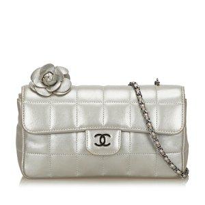 Chanel Choco Bar Camellia Lambskin Leather Chain Bag