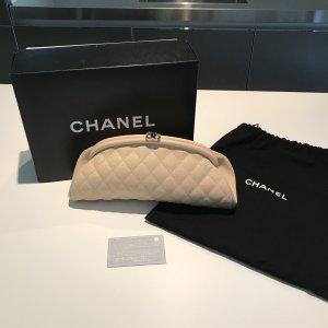 Chanel Classic Clutch Tasche Beige OVP Original mit Rechnung