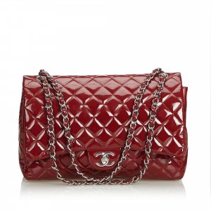 Chanel Classic Maxi Patent Leather Double Flap Bag