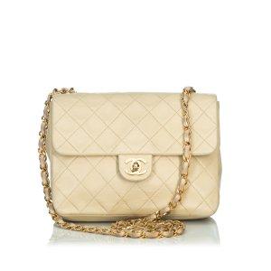 Chanel Borsa a spalla beige Pelle