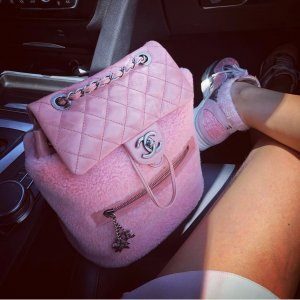 Chanel Sac à dos rose cuir