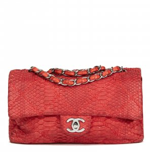 Chanel Classic Single Flap Bag Rot Leder Luxus Pur!