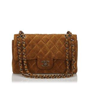 Chanel Shoulder Bag dark brown suede