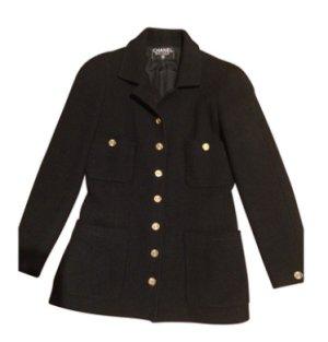 Chanel classy Tweed Jacke /Blazer schwarz Gr. 36